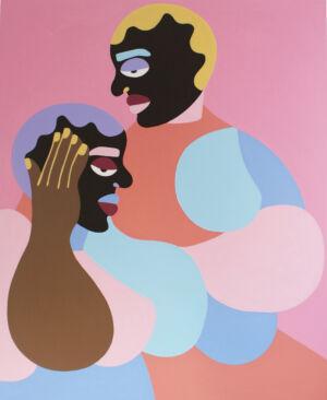 The Wick - Deborah Segun, The Confusion, 2021, Acrylic on canvas, 120 x 150 cm. Courtesy of SMO Contemporary.
