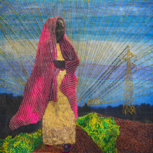The Wick - Joana Choumali, Missing abuela in silence, 2020, Embroidery on digital photography printed on canvas, 50 x 50 cm. Courtesy of Loft Art Gallery.