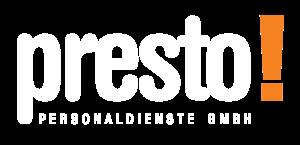 Logo Presto Personaldienste in weiss