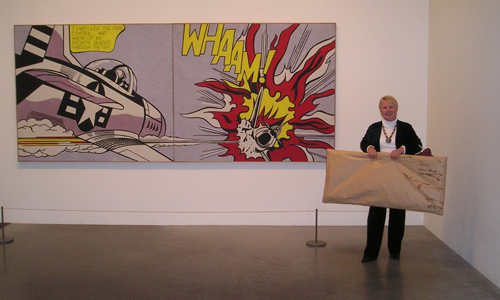 Heather Bowring with tactile art Whaam! by Roy Lichtenstein