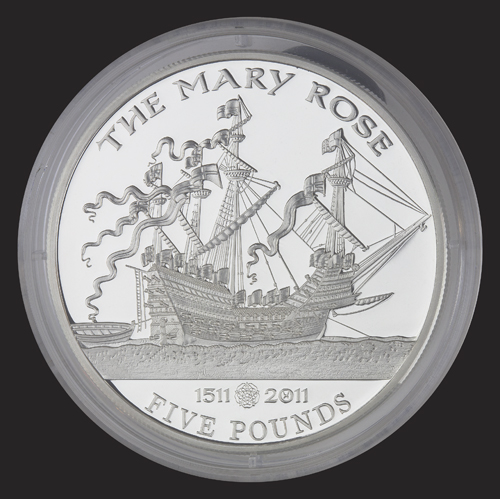 A £5 commemorative coin  with the image of Anthony Roll's painting of Mary Rose. Commissioned by the Government of Jersey.