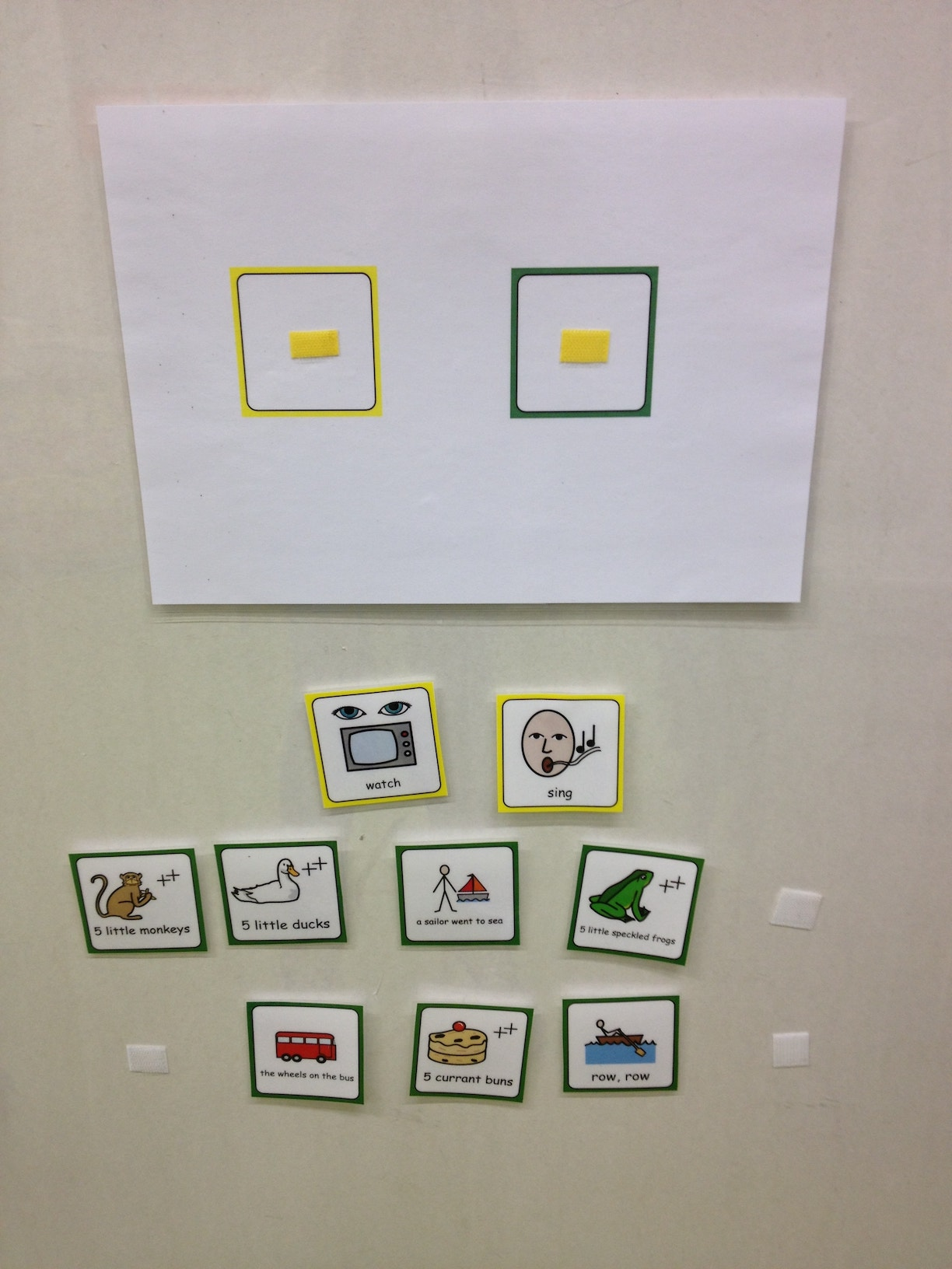 autism singing choice board
