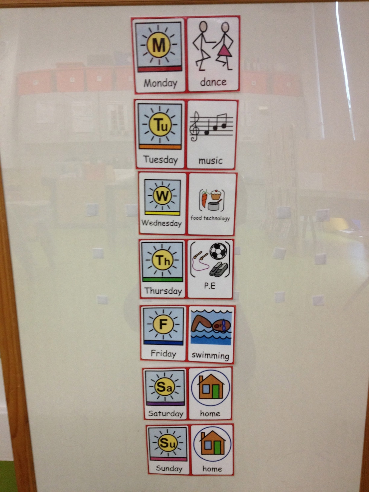 Days of the week board children with autism asd teacher