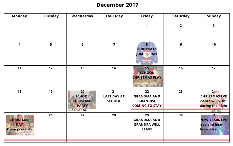 Christmas holiday calendar autism ASD Teacher