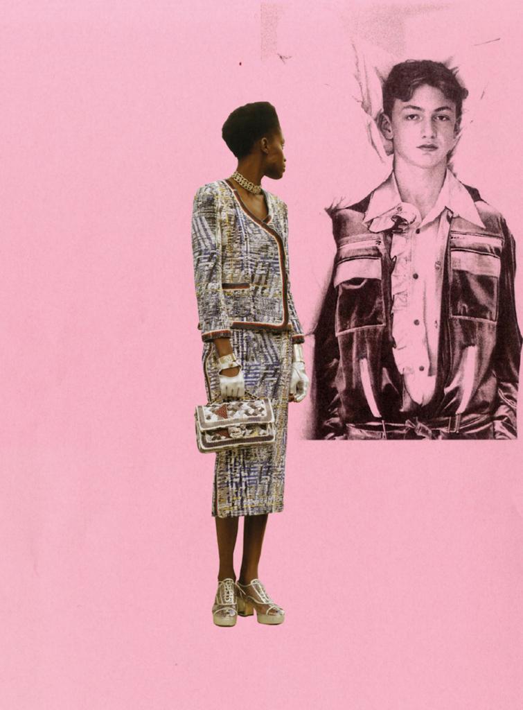 female model posing on pink background
