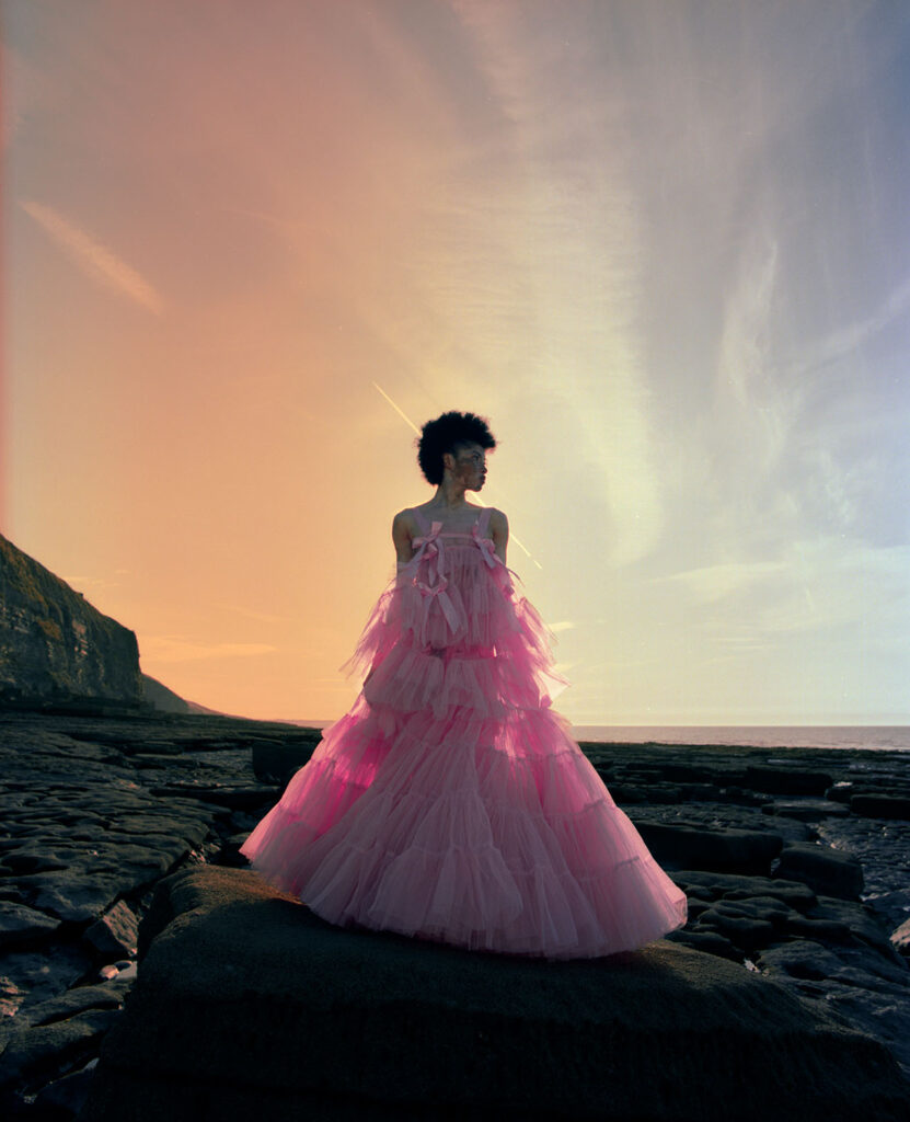 Female posing in a pink dress overlooking the sunset
