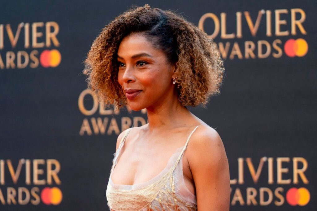 British actress Sophie Okonedo poses on the red carpet upon arrival to attend The Olivier Awards at the Royal Albert Hall in central London on April 7, 2019. (Photo by Niklas HALLE'N / AFP) (Photo credit should read NIKLAS HALLE'N/AFP via Getty Images)