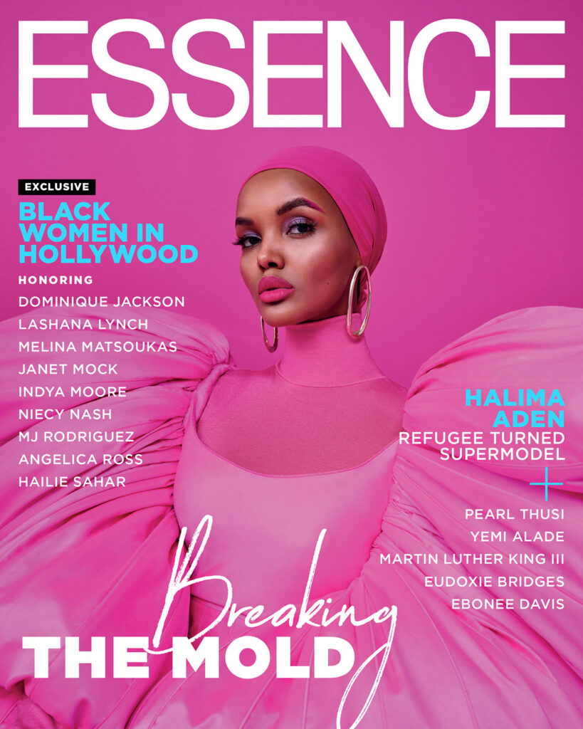 Halima Aden wears pink outfit for essence magazine cover