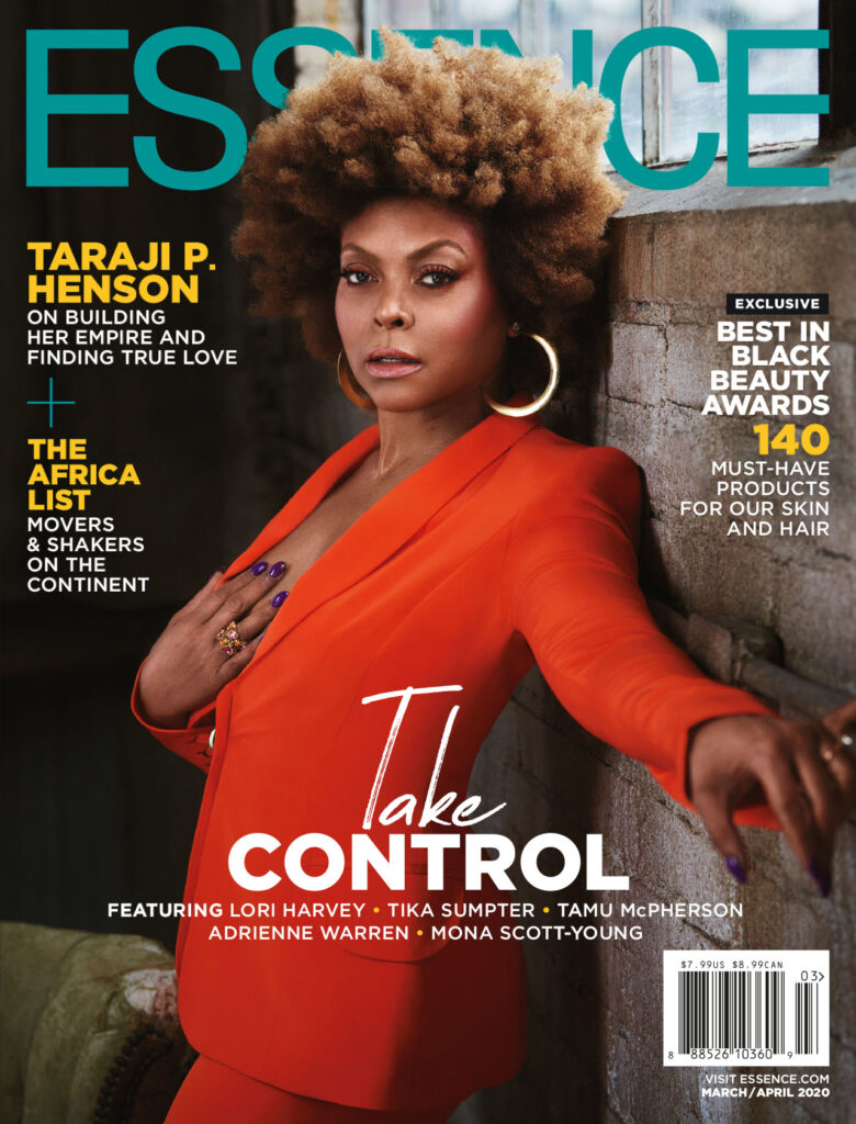 Taraji p henson wear a red suit for essence magazine cover