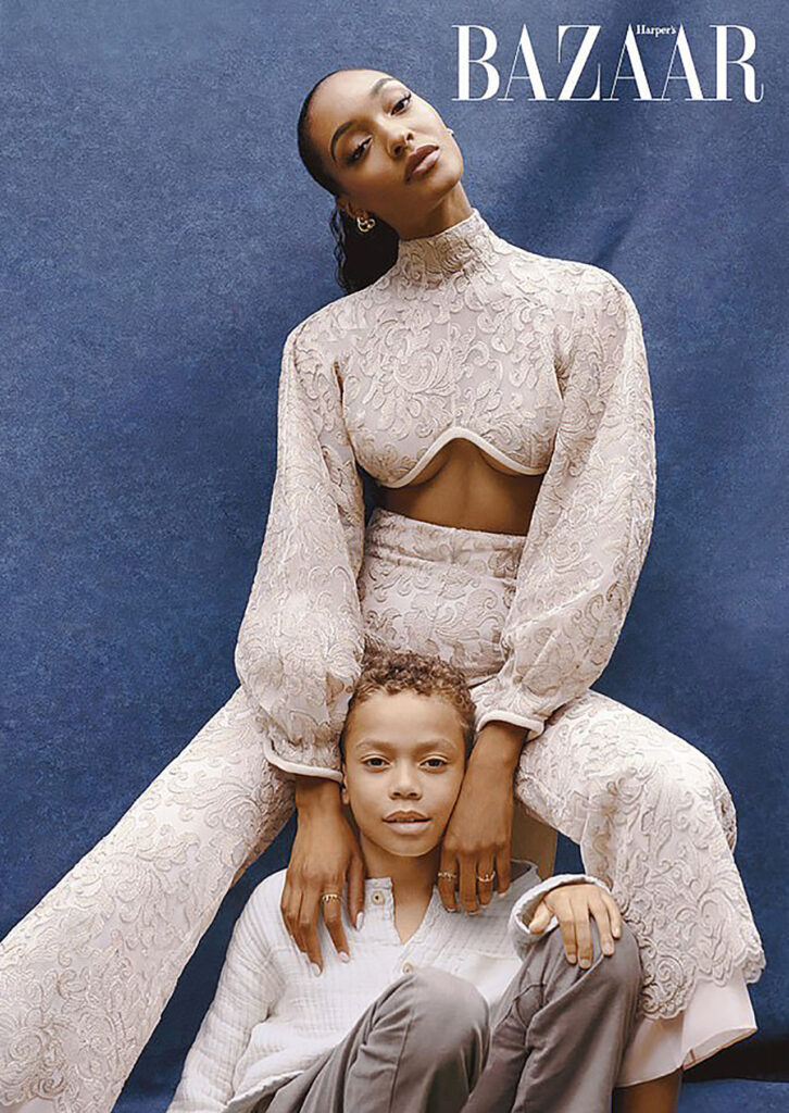 Jourdan Dunn poses with her son for Harpers Bazaar