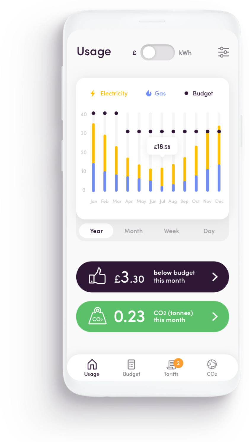 App screen - Usage
