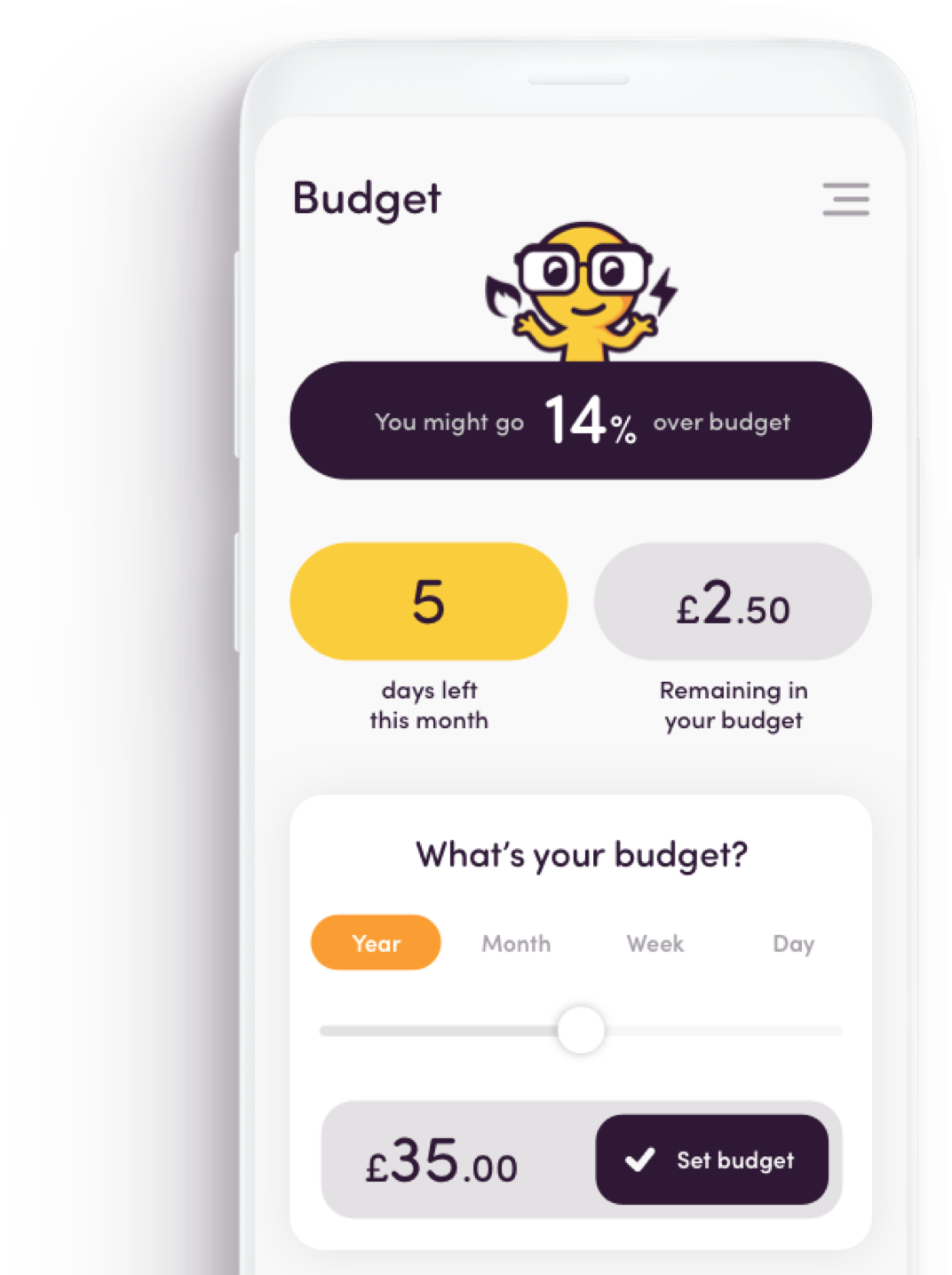 App screen - budget