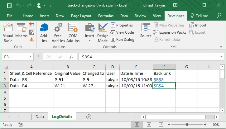 Track Changes Automatically in Worksheet with VBA