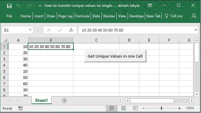 get Excel data from multiple rows into a single cell