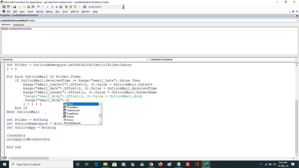 Intellisense at work