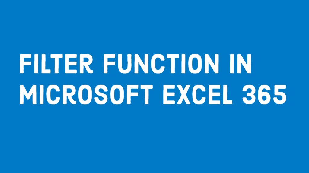 FILTER function in Excel