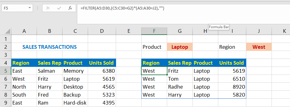 Filter Function Using Multiple Criteria