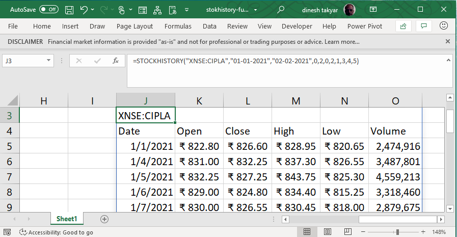 Stock History Function in Excel