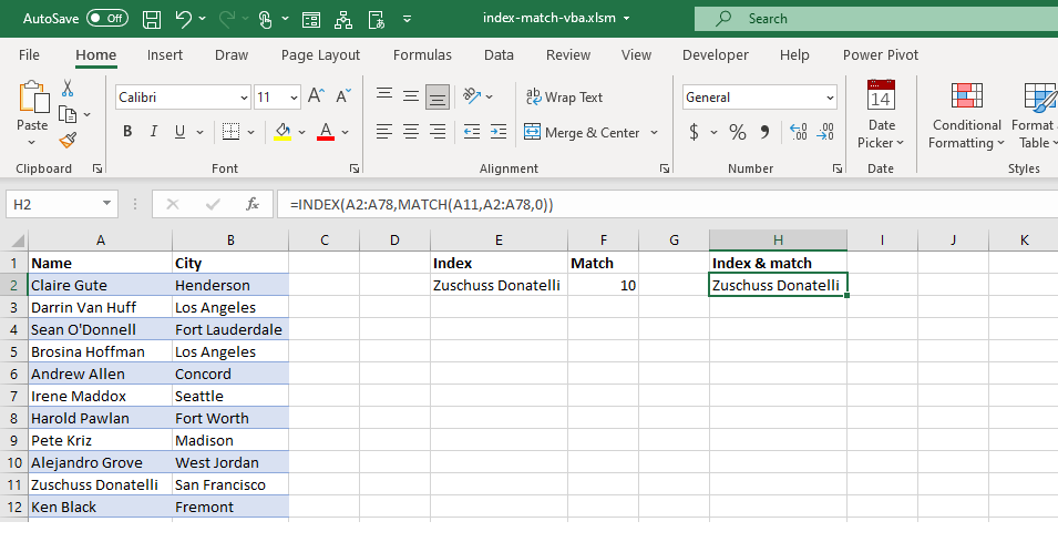 INDEX MATCH Functions Combination