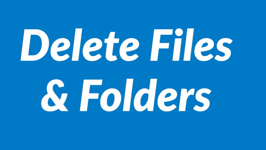 Delete files and folders from PC using the file system object in VBA