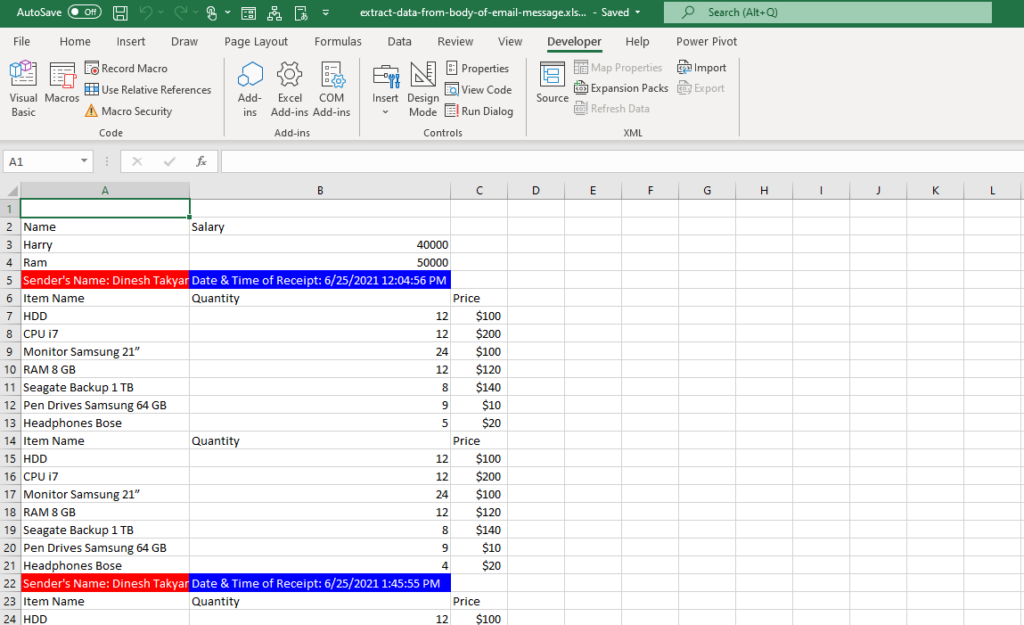 Automatically Extract Table Data from Outlook Mail with VBA
