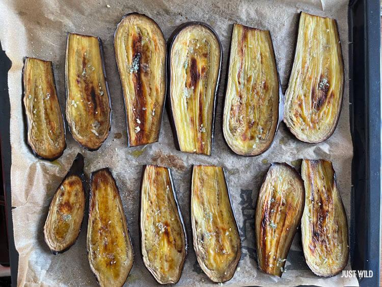 Toast mit Reh - Auberginen grillen