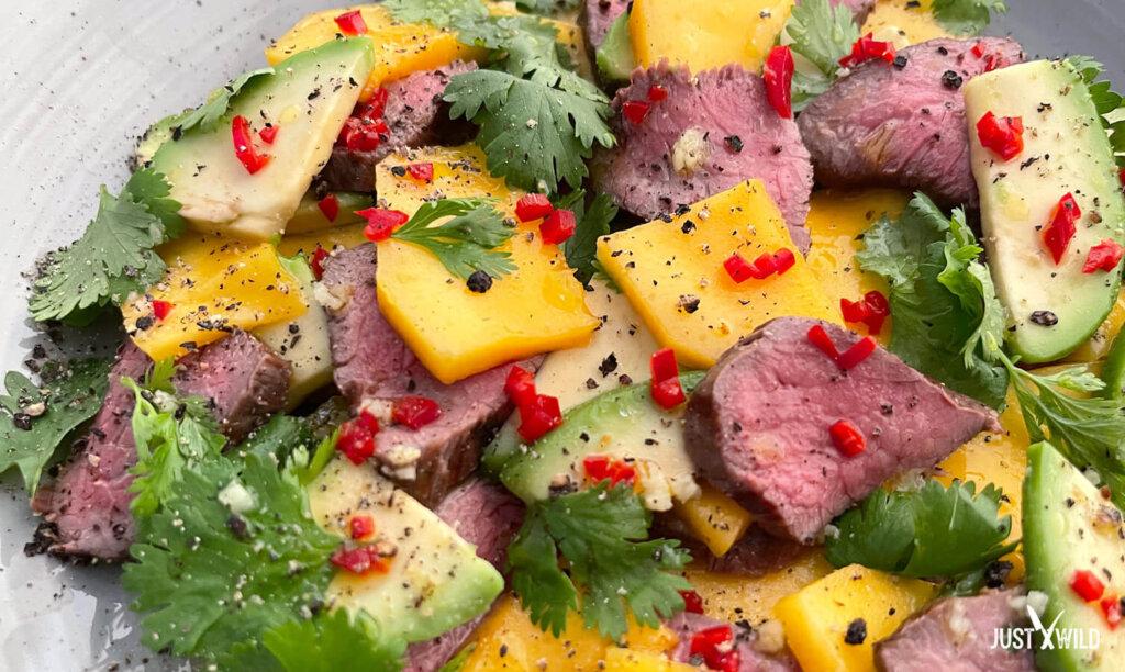 Mango Avocado Salat mit Reh - Angerichtet