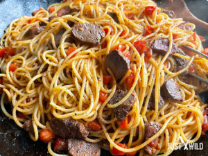 Klassische Pasta mit Wildschwein Filet - Zubereitung