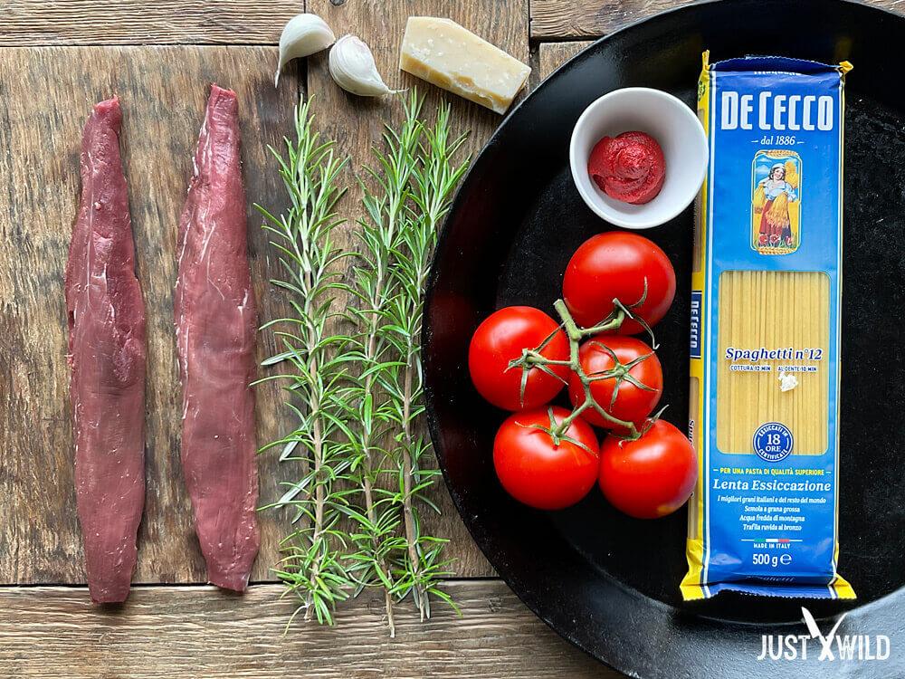 Klassische Pasta mit Wildschwein Filet - Zutaten