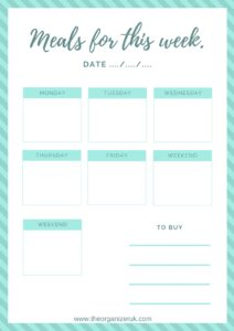 FREE weekly meal planning calendar, monthly meal planning