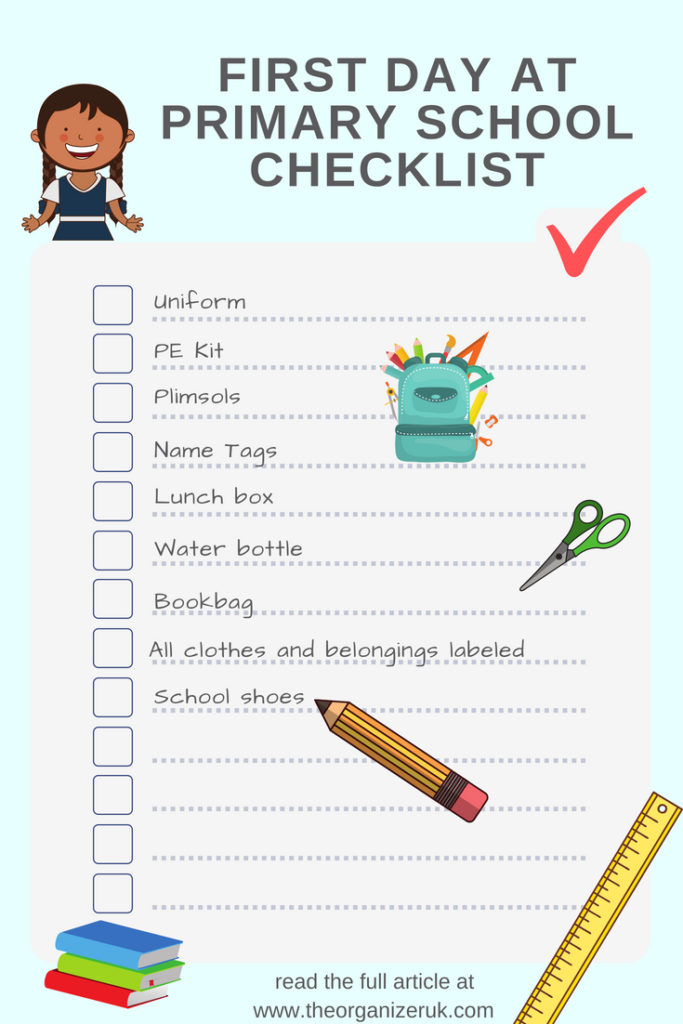 first day at school checklist