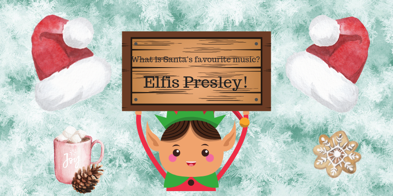 elf jokes for kids, elf holding a sign with a joke on it