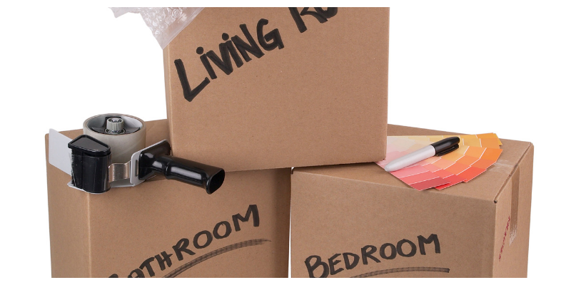 what to pack first when moving , 3 labelled packing boxes.