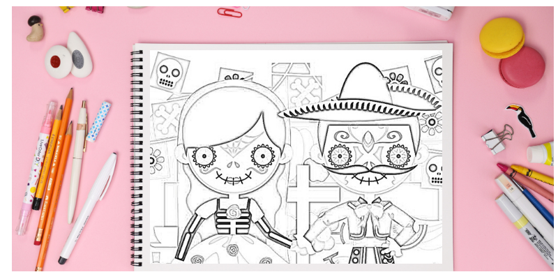 cute coloring pages flat lay