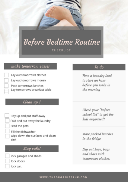 BEFORE BEDTIME ROUTINE