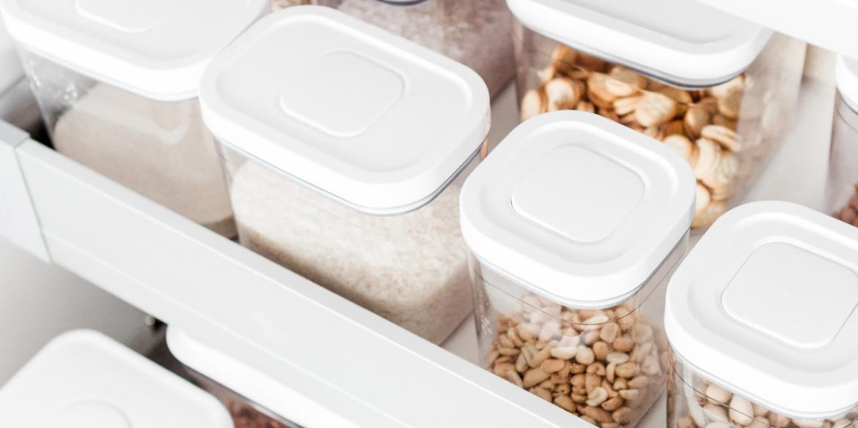 kitchen organization tubs to prevent kitchen clutter