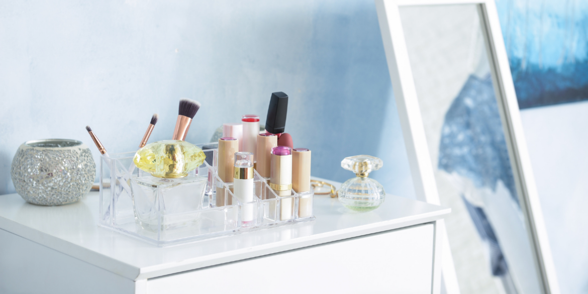 cosmetic organizer to combat chronic clutter