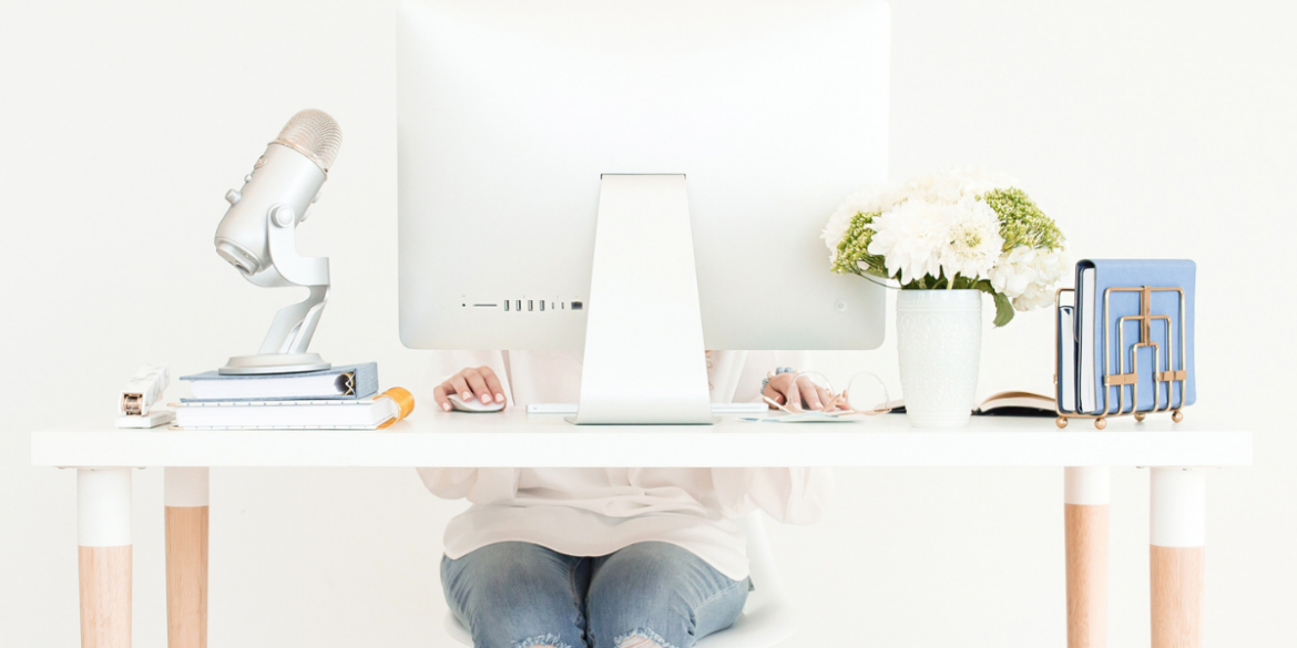 lady busy at her desk