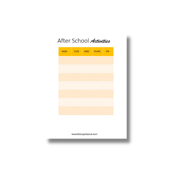after school activity planner