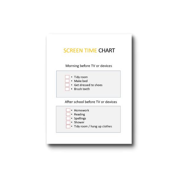 screen time chore chart