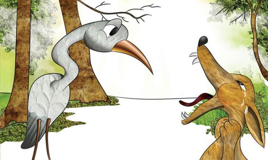 the wolf and the crane story