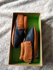 Wolfie+Willow Moccasins in the box