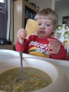 L enjoying some soup