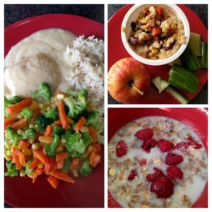 Fish in Sauce with Rice and Veg, Bulger Wheat Salad Pot with an apple and cucumber, Muesli with raspberries