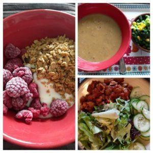 Granola with yoghurt and raspberries, Leek & potato soup with veg, Mediterranean Pasta with salad