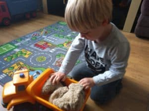 Playing with his new JCB Truck