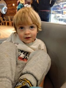 Chilling out in a cafe with my boy whilst Daddy waits to see a Doctor