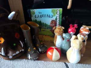 Gruffalo Bag, Boots, Book and Skittles
