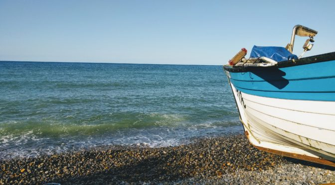 Boat on a pebble beach