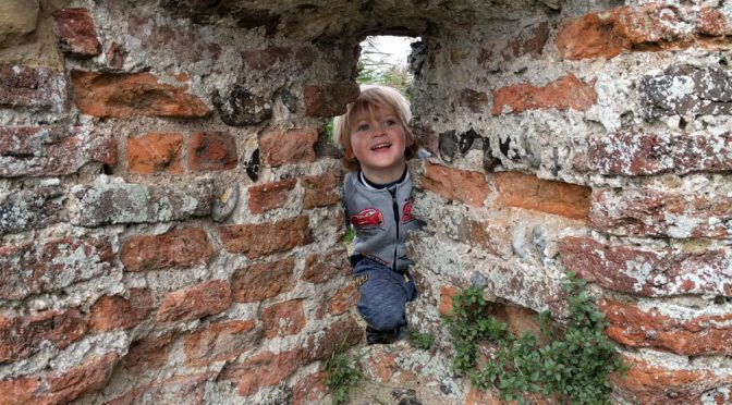 Boy looking through a window at St Benet's Abbey